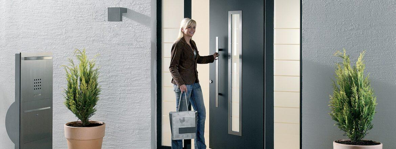 Porte d'entrée en aluminium Carbonstyle